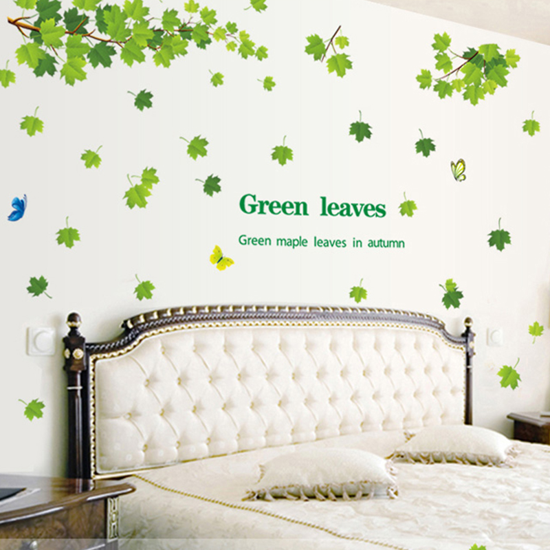 removable diy green leaves maple tree wall stickers art vinyl wall