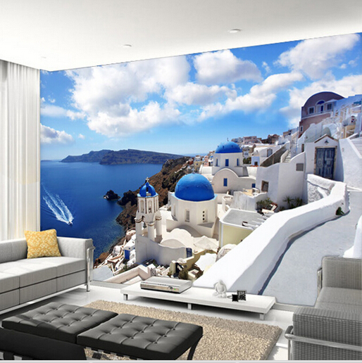 Greece aegean mediterranean murals large scale 3d for Custom mural wallpaper uk