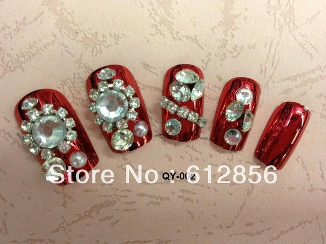 new arrival, 3D design flowers elegant FALSE NAIL 24pcs/lot,artificial nails/ The bride wedding party