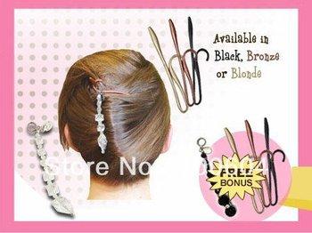 Easy Multifunctional Magic Hair Clip/Hairdisk/Hair Device/Twist N Clip w/ White & Black Pendant