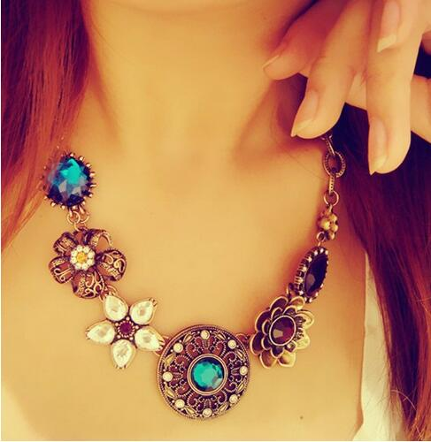 top quality New Arrival Fashion Jewelry Vintage Women Necklaces Pendants Link Chain Necklace Round Flower Gem Pendant Gift Party(China (Mainland))