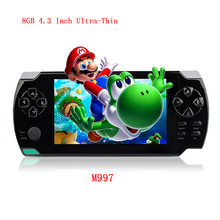 Free Shipping 4.3 Inch Ultra-Thin Game Console 8G Built In 1000+ Games Portable Video Games Console MP3 Music Player For Kids(China (Mainland))