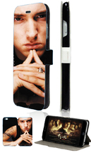 Hot selling eminem hybrid retail 5designs luxury mobile phone bag card wallet leather cases for IPHONE4 4S free shipping