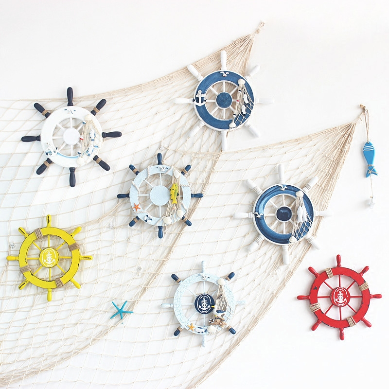 Creative Beach Wooden Boat Ship Rudder Fishing Net <font><b>Home</b></font> Wall <font><b>Nautical</b></font> <font><b>Decoration</b></font>