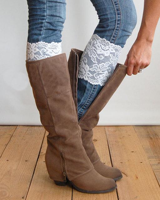 Осенней пункте кружева кружева носки стретч 15 см ширина загрузки сапоги манжеты ...