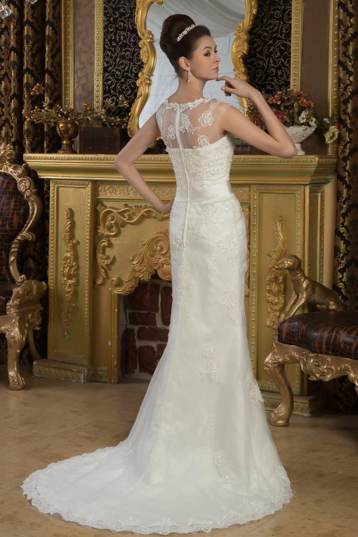 lace wedding dress with Short sleeves Floor Length,Scoop Court Train elegant wedding dresses