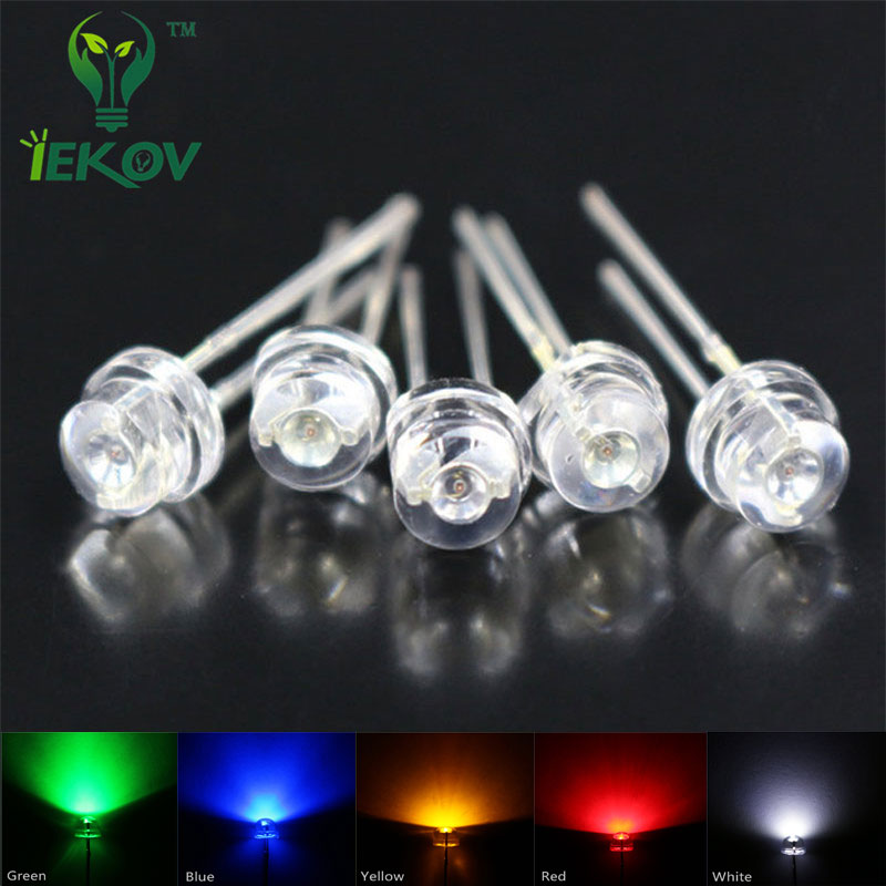 IEKOV 5mm straw hat Led 5 Color Red Blue Green Yellow White=100 PCS Diodes Wide Angle Light Bulb Led Lamp 5MM Emitting Diodes(China (Mainland))