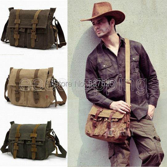 2015 New Europe Style Retro Designer mens canvas leather satchel messenger shoulder tote bag School Military Satchel - Flying Fish BAG LTD store