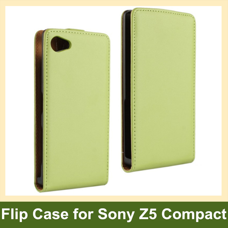 Luxury Genuine Leaher Vertical Flip Cover Case for Sony Xperia Z5 Compact/Z5 Mini E5803 E5823 with Magnetic Snap 10pcs/lot