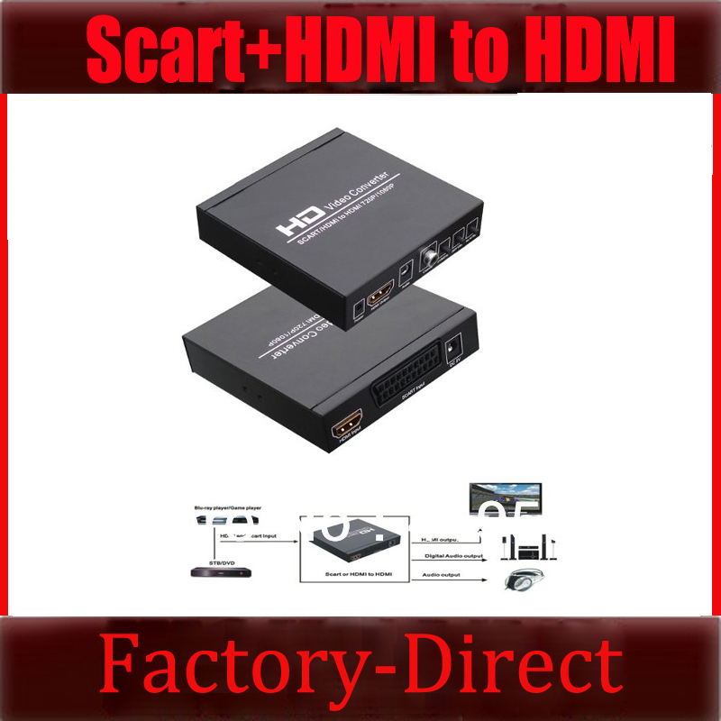 Free shipping 720p/1080p SCART + HDMI to HDMI HD TV Converter Adapter For SKY STB DVD Wii PS3 Blu Ray(China (Mainland))