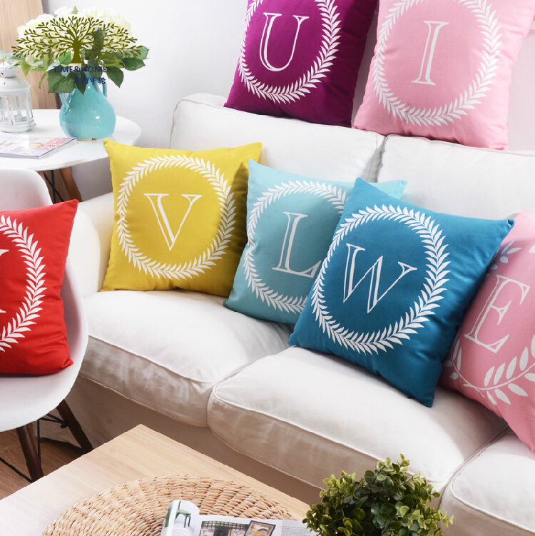 26 letters pillow case almofada Colorful letter pillow Cover Linen Cotton Throw Pillow Cushion Covers for Car Sofa Home Decor(China (Mainland))