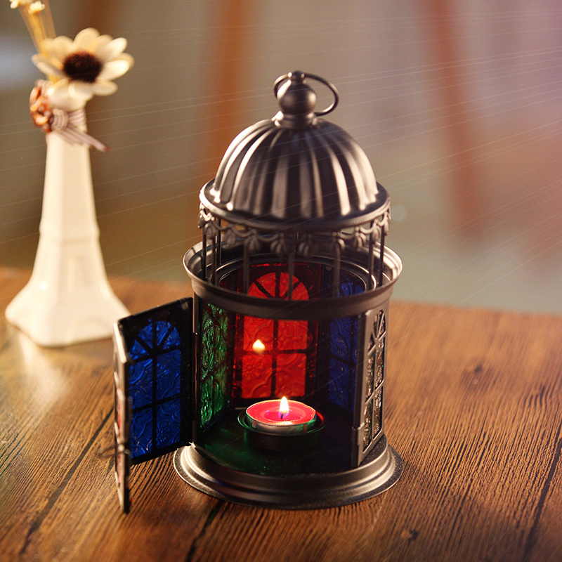 Decorative Tall House Hanging Metal Glass Candle Holders For Wedding Centerpieces Decoration Latern Candlestick Home Decor(China (Mainland))
