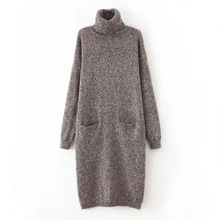 wool sweaters womens turtleneck 2016 New Arrival  Winter Loose Soft Long Dress Coat female knitted Plus size Pullover Sweater(China (Mainland))
