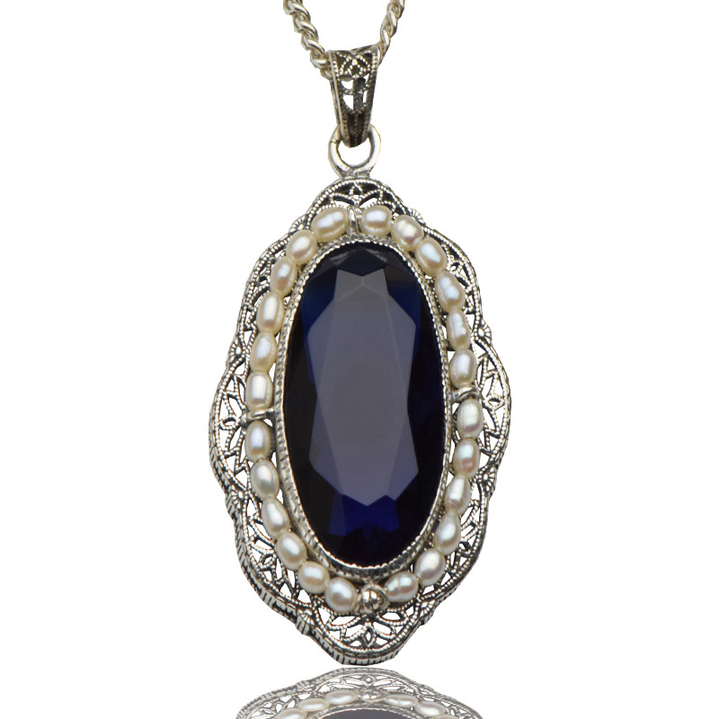 trend fashion women jewelry palace style restoring ancient ways Costly pearl pendant 925 sterling silver sapphire