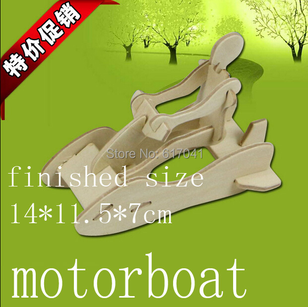 3D puzzle wooden lovely motorboat early intelligence educational toy for 3-7 years kid toy best Christmas gift(China (Mainland))