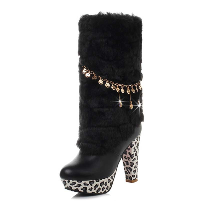 Leopard Chains snow boots for women Mid-Calf girl warm winter boots platform big size34-43 boots women Round Toe High   <br><br>Aliexpress