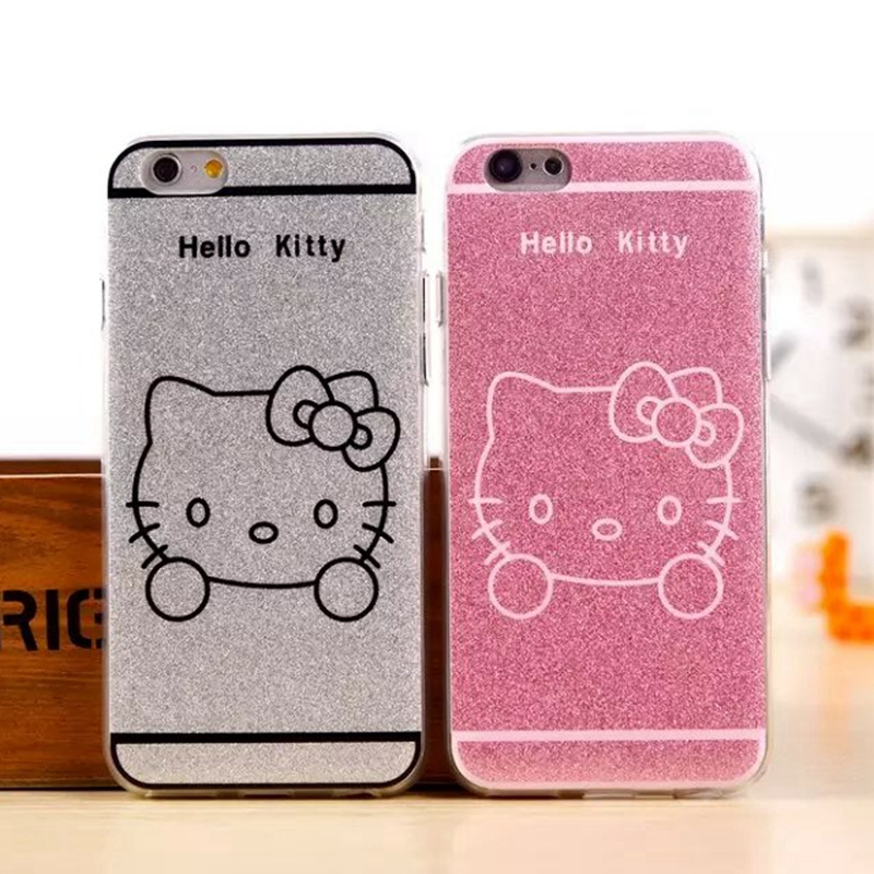 Fashion Lady Hello Kitty Cartoon For Apple iphone 5 5S 6 6S 6 Plus 6S Plus Cover Bling Shining TPU Gel Phone Case Coque(China (Mainland))
