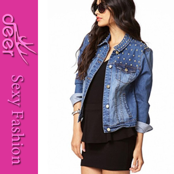 2014 Women Brands Fashion Vintage Korean Style Single Breasted Rivets Jacket Camisa Jeans Roupas