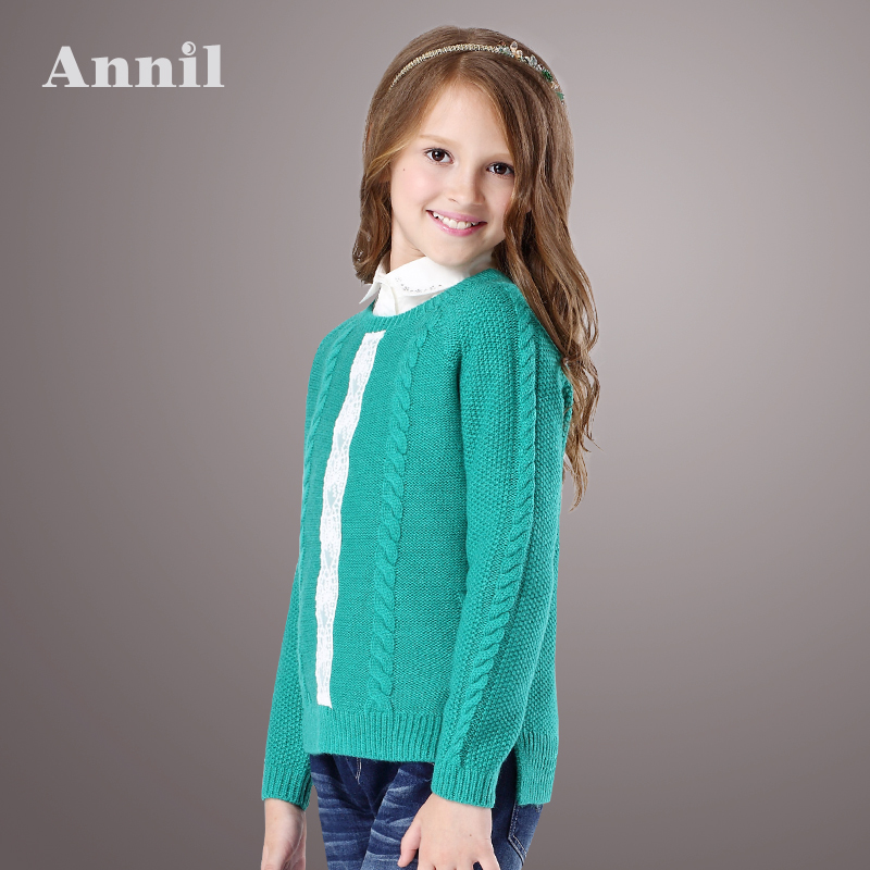 Annil girls 2015 new autumn clothes 30% wool sweater EG534016 Lace Textured weave four colors Asymmetric design<br><br>Aliexpress