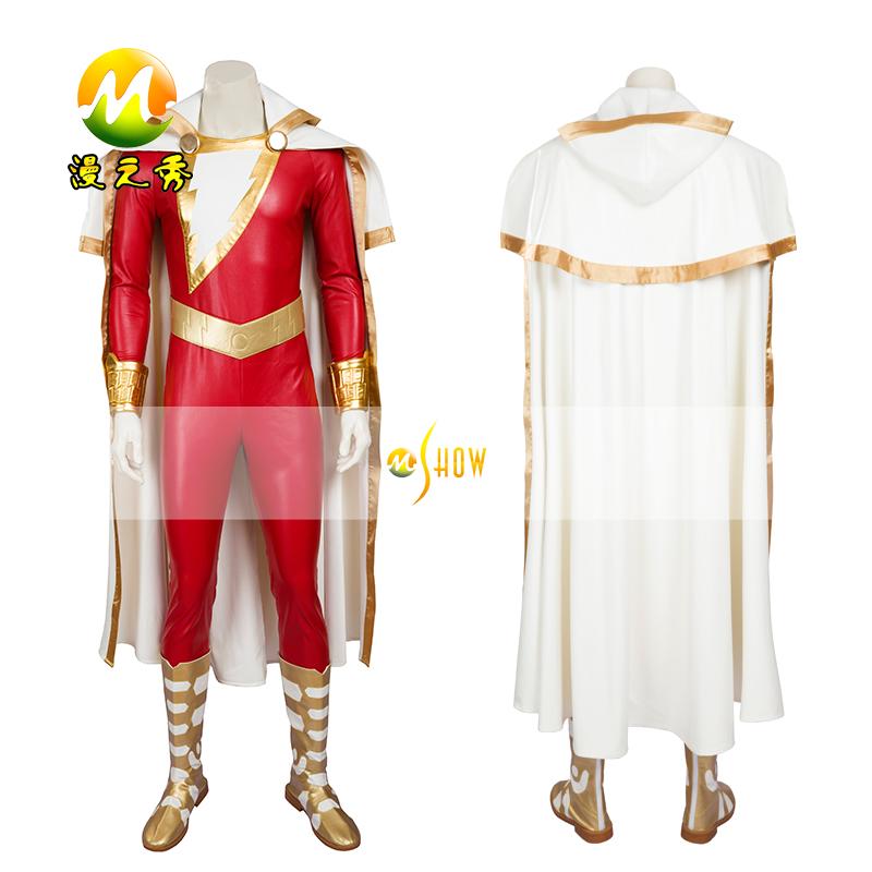 Hot Superhero man Shazam Cosplay Costume Billy Batson Captain marvel Cosplay Costume MZX002(China (Mainland))