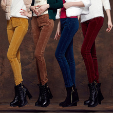 Women's Clothing 2016 New Fashion Slim Thin Stretch Corduroy Pants Large Size Casual Pants Trousers(China (Mainland))