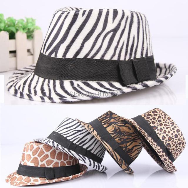 Корейский осень / зима котелок шляпа дети хлопок леопардовый шапки мягкая фетровая шляпа
