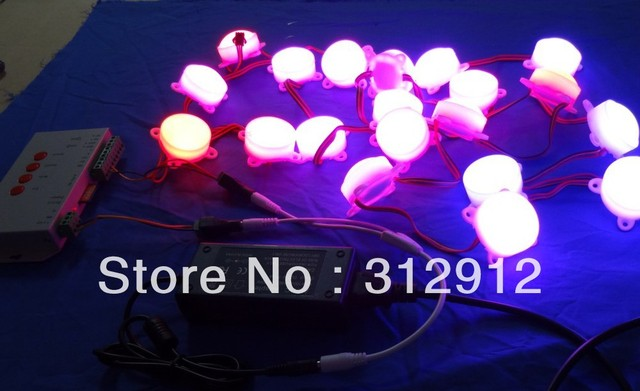 40pcs 45mm diameter DC12V milky cover WS2801 pixel module,3pcs leds inside+T-1000S sd card pixel controller+12V/4A power adaptor