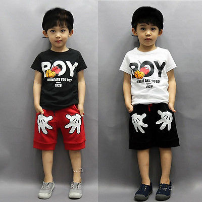 2PCS Toddler Boy Kids Minnie Mouse Outfits T-shirt+Shorts Clothes Set 2-7Y