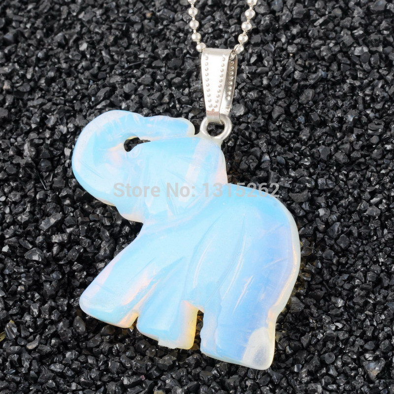 Fashion Jewelry Women Unique Opal Elephant Pendant Charms Natural Gem Stone Pendant Silver Plated Chain Candy Color Necklace(China (Mainland))