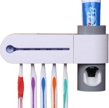 Eco-Friendly Plastic  Kitchen UV Light Toothbrush Sterilizer Lamp Storage Automatic Toothpaste Dispense Toothbrush Holder(China (Mainland))