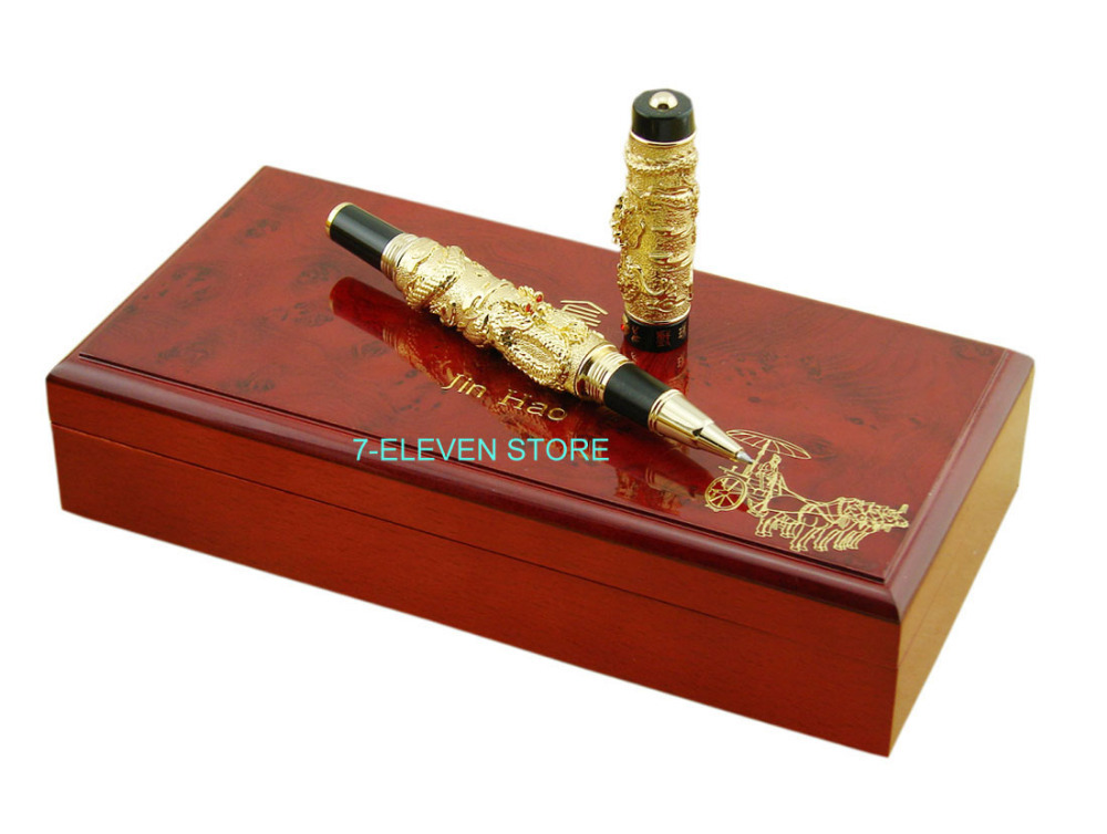 Deluxe Collection & Gift Pen , Jinhao Golden Two Dragon Play Pearl 3D Pattern Roller Ball Pen & Original Box(China (Mainland))