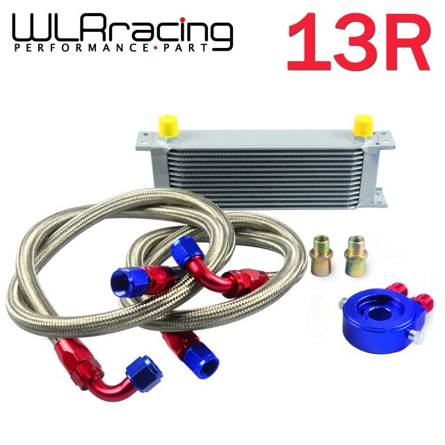 WLR STORE-AN10 OIL COOLER KIT 13RWOS TRANSMISSION OIL COOLER SILVER+OIL FILTER ADAPTER BLUE + STAINLESS STEEL BRAIDED HOSE(China (Mainland))