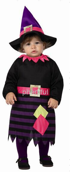 Wholesale - 2016 New Style Party Clothing Halloween Cosplay Costume For Infant Baby Knitted Skirt Costumes Black & Purple Color(China (Mainland))