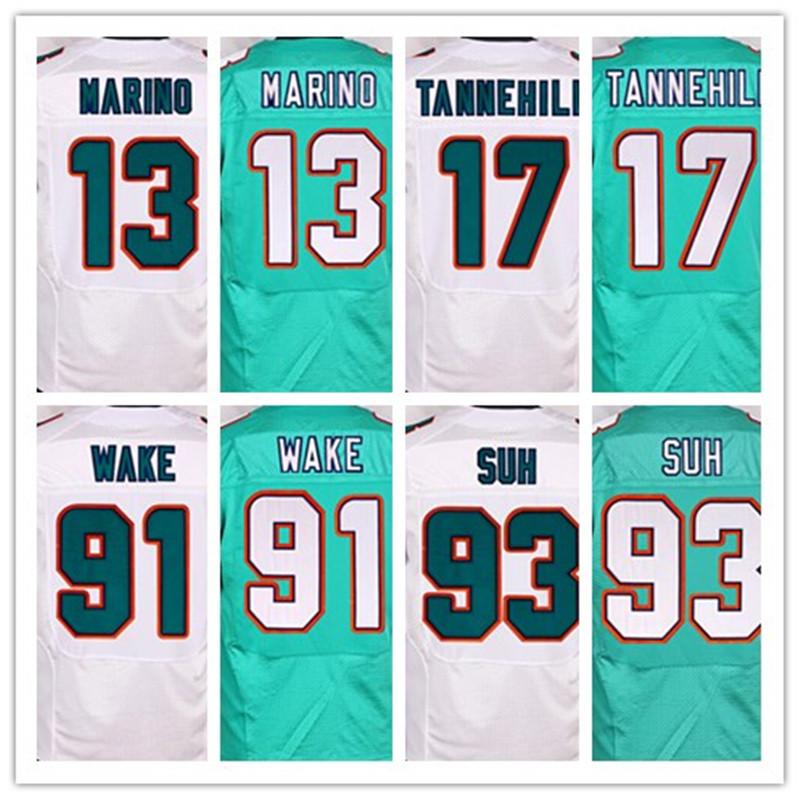 Good quality,Men's 11 Mike Wallace 13 Dan Marino 17 Ryan Tannehill 93 Ndamukong Suh elite jerseys,White,Green,Size 40-56(China (Mainland))