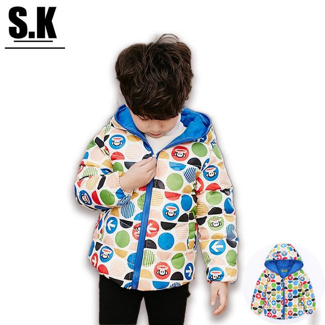 [ОКОНЧАТЕЛЬНЫЙ ОЧИСТИТЬ] марка SK Зима Согреться Мальчики Вниз Пальто Мода Капюшоном Куртки для Мальчиков Outwears & Пальто