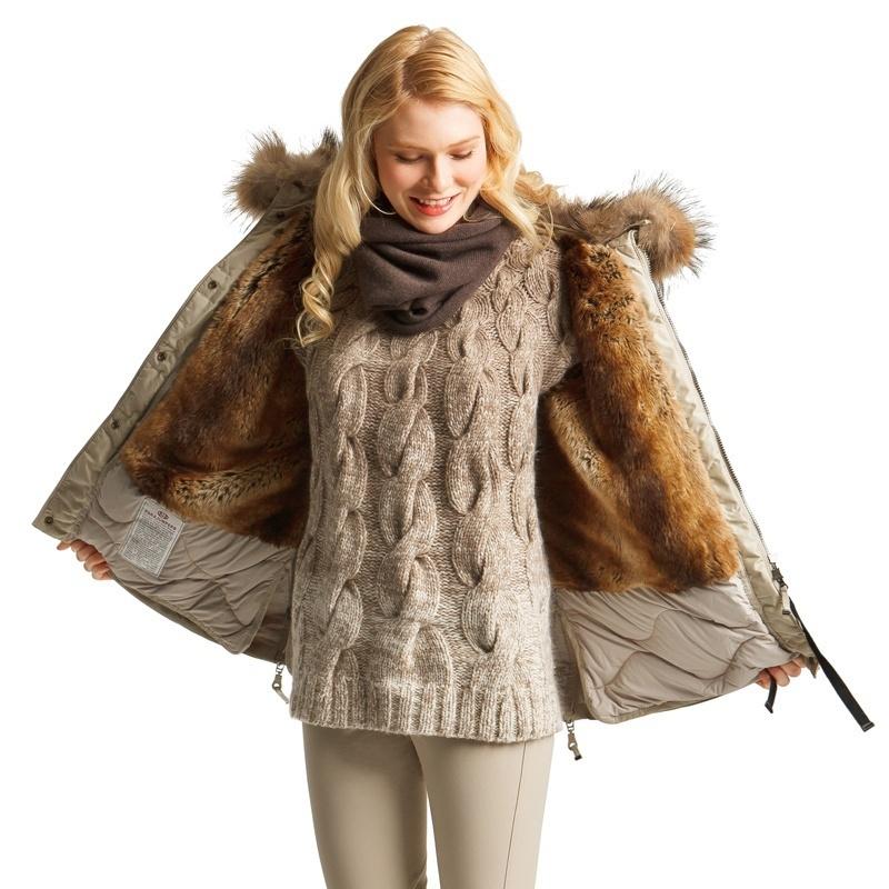 Girls High long section fur lined warm down coat women winter jacket beige black green 803(China (Mainland))