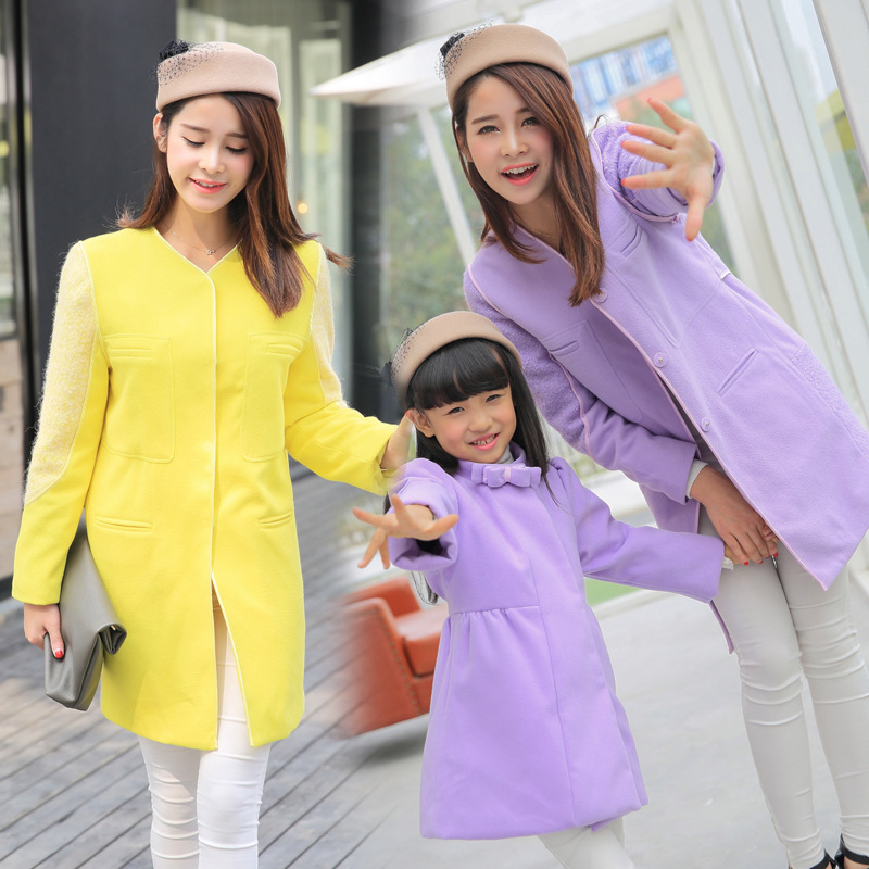 2016 New Arrival Mother Daughter New Autumn And Winter Fashion Woolen Coat Thick Korean Children Mother Dress Wholesale Agency(China (Mainland))