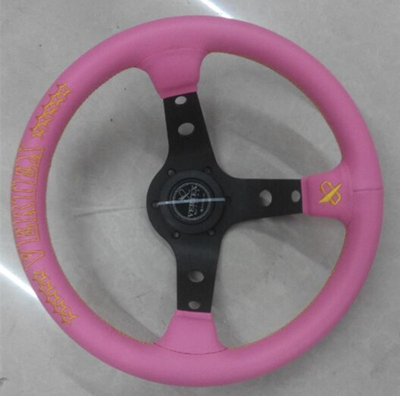 Фотография 2015 Hot 13 inch universal leather racing steering wheel with pink embroidery free shipping high quality exclusive models