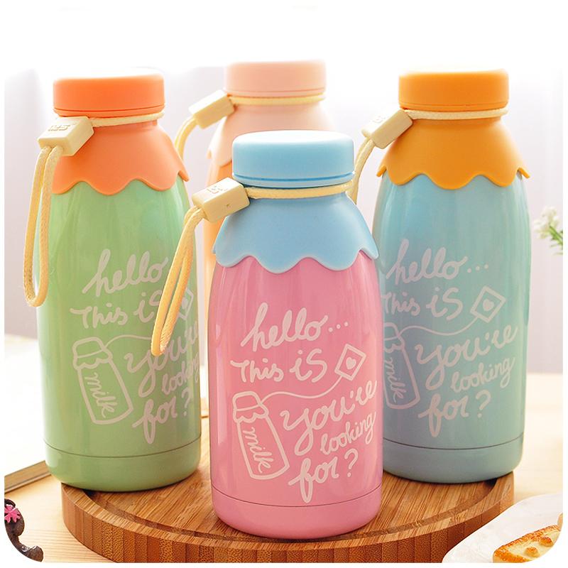350 ml Kawaii Little Bear Milk Bottle Stainless Steel Vacuum Cup Thermal Cup Heat Insulation Vacuum Flasks Retail