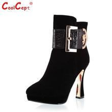 Medio tobillo CooLcept envío libre corto de cuero genuino verdadero natrual botas de tacón alto de las mujeres de arranque nieve R2085 EUR tamaño 34-39(China (Mainland))