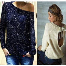 Fashion Woman Retro Sweaters Sexy Knitwear Thin Pullovers Sequined Bow Loose Knitted Casual Women Crochet Sweater HO852648(China (Mainland))