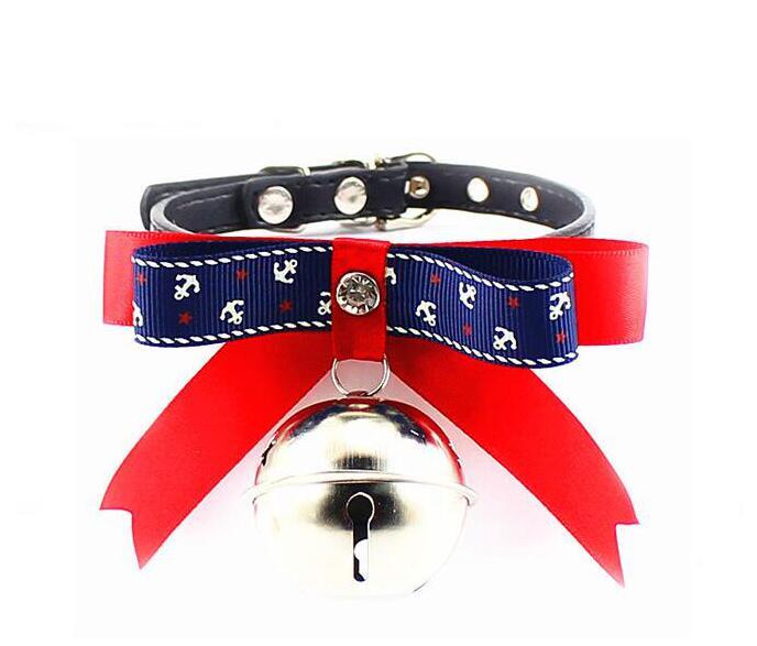 2016 New Super cute Bow Rhinestone bell pet cat dog collar high quality PU leather pet small dog cat Pet Hot Sale(China (Mainland))