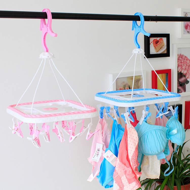 T3577 Plastic Type Windproof Clamp Clothes Hanger Hanging Socks Underwear Clothes Pegs Collapsible Conveniency Drying Hanger(China (Mainland))