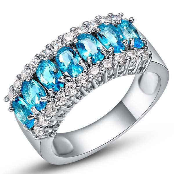 Fashion Lady's 18k White Gold Filled Turquoise ring size 6 7 8 9 #00225(China (Mainland))
