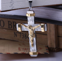 Big and Heavy Gold Plated Jesus Cross Pendant Necklace Fashion Men's Gift Jewelry Stainless Steel Crucifix Necklaces