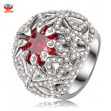 GALAXY High Quality Luxury Platinum Plated Red Ruby Cubic Zircon Crystal Diamond Wedding Rings For Women YH331