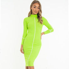 NewAsia לבן שמלה מזדמן נשים גולף ארוך שרוול ניגוד צבעים Midi שמלת ירוק Bodycon עיפרון שמלת ארוך Streetwear(China)