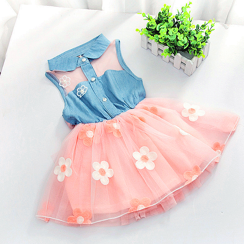 New 2015 baby girls party princess flower dress summer dressed casual kids clothes vestidos infantis infantil robe roupas tutu(China (Mainland))