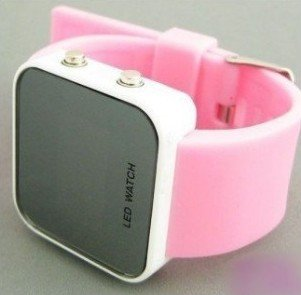 wholesale! NEW Fashion Boy Girls ODM jelly pink Watch, ODM Mirror LED watches Digital watches FREE shipping