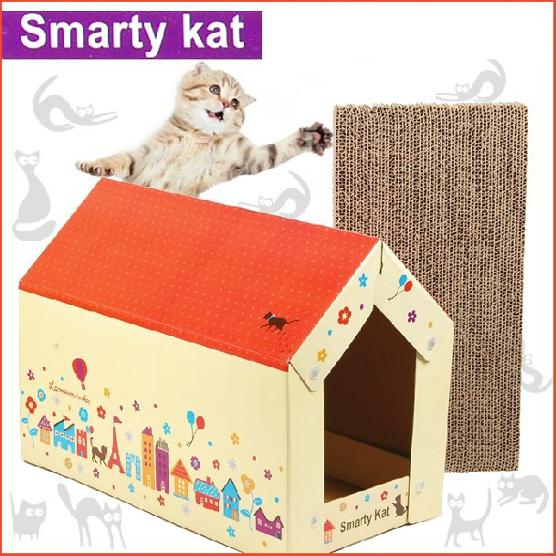 DIY Cat Scratch board house with Catnip Cat bed house Cats Scratcher Scratching pad Post Interactive Toy For Pet Cat Training